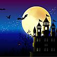 ハロウィン 月と城