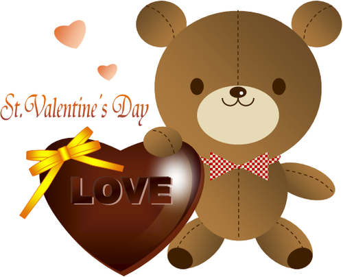 クマとハートのチョコレート